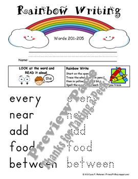 """20 """"Rainbow Writing"""" Practice Pages for Fry's THIRD 100 Sight Words"""