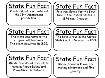 20 Rhode Island State Fact Flashcards. 1st Grade-7th Grade