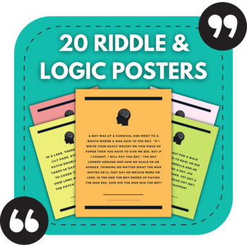 20 Riddle and Logic Puzzle Posters - For High School Walls!