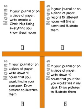 20 Rigorous Noun Task Cards for Word Work Centers or Small Group Print and Go