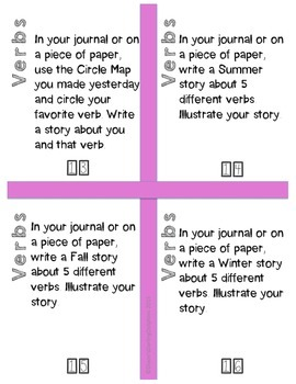 20 Rigorous Verb Task Cards for Word Work Centers or Small Group Print and Go