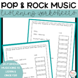 Rock and Pop Music Listening Worksheets