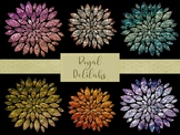 20 Royal Delilah Clip Art Flowers, Separate PNG Files, High Resolution.