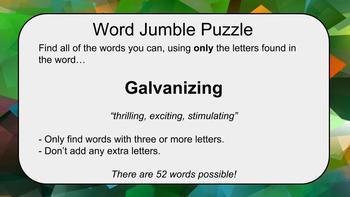 20 SAT Vocabulary Word Jumble Puzzles: A great activity, game, or bell-ringer!