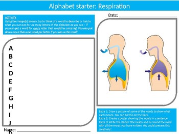 20 Science Biology Alphabet Analysers Starter Activities Keyword