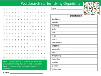 20 Science Biology Wordsearch Puzzle Starter Activities Keyword