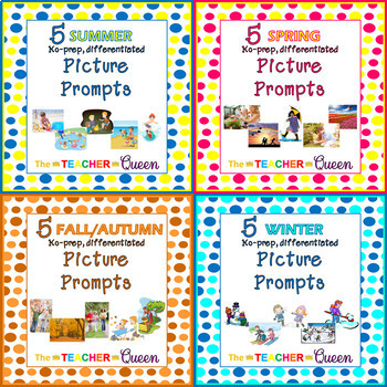 20 Seasons No-prep, Differentiated Picture Prompts for Writing Mini Bundle