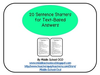 20 Sentence Starters for Text-Based Answers