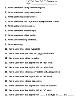 20 Sentence Varieties and Examples - Common Core Practice