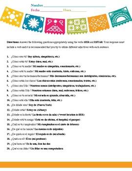 20 Ser vs. Estar Example Questions