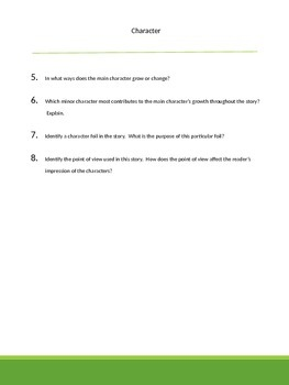 20 Short Essay Questions: Use with ANY novel or short story!