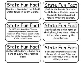 20 South Dakota State Fact Flashcards. 1st Grade-7th Grade