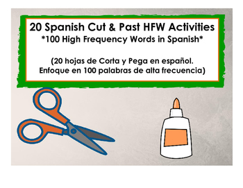 20 Spanish HFW Cut and Paste Activities (20 actividades de