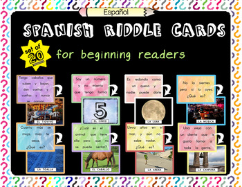20 Spanish Riddle Cards for Beginning Readers