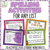 20 Spelling Activity Task Cards VOLUME 2 Print and Go Student Worksheets NZ