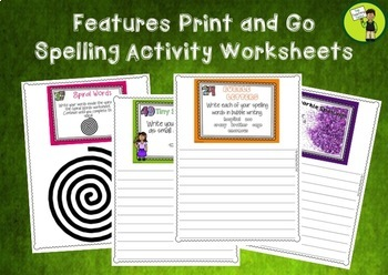20 Spelling Activity Task Cards VOLUME 2 - Print and Go Student Worksheets - USA
