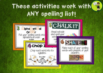20 Spelling Activity Task Cards and Print and Go Student Worksheets - US