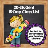 15 Day Class List