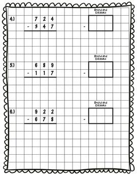 20 Subtraction Traditional/Standard Algorithm Practice Worksheets