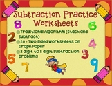 20 Subtraction Traditional/Standard Algorithm Practice Worksheets