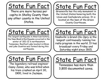 20 Tennessee State Fact Flashcards. 1st Grade-7th Grade