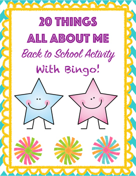 20 Things All About Me with Bingo Activity