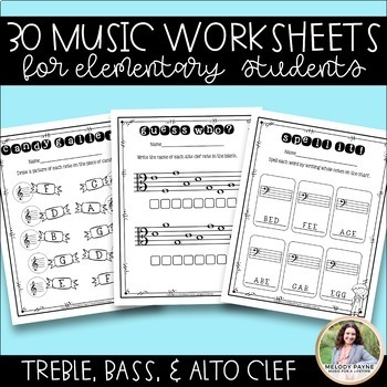 30 Treble Clef, Bass Clef, & Alto Clef Worksheets for Elementary Music Students