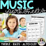 Music Worksheets: Note Naming Practice on Treble Clef, Bas
