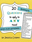20 Questions to apply to any novel - worksheets and bookmark