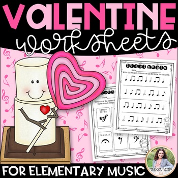 20 Valentine's Day Worksheets for Elementary Music Students