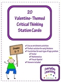 20 Valentine Themed Critical Thinking Station Cards