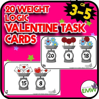Valentines Day Math Logic Task Cards