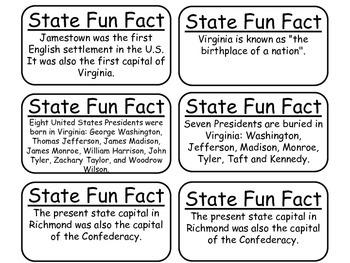 20 Virginia State Fact Flashcards. 1st Grade-7th Grade