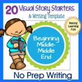 Story Starters | VISUAL WRITING PROMPTS | Beginning Middle End graphic organizer