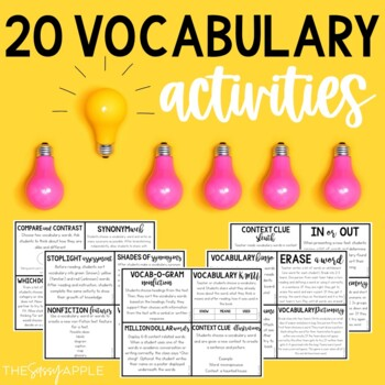 20 Vocabulary Activities for ANY Book or Word List