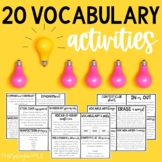 Vocabulary Activities for ANY Word List {20 Different Ideas!}