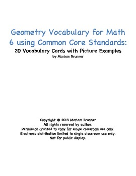 20 Vocabulary Cards for Geometry Math 6 Common Core Standards