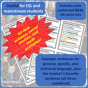 WIDA © based Speaking and Writing Help Cards for Elementary ESL, Mainstream