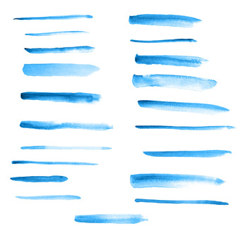 20 Blue Watercolor Brush Strokes Clipart- Thin, Paint Marks, Hand Painted