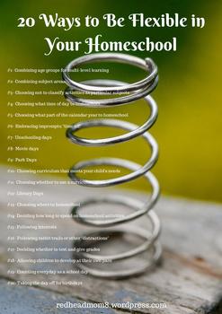 20 Ways to Be Flexible in Your Homeschool Poster