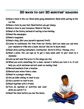 20 Ways to Get 20 Minutes' Reading Inspiration Handout