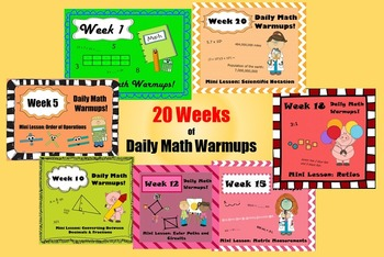 20 Weeks of Daily Math Warm Ups