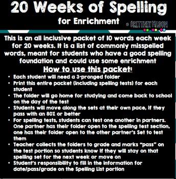 20 Weeks of Spelling-Enrichment