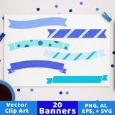 20 Winter Banners Clipart, Blue Banner SVG, Blue Christmas Ribbon Divider
