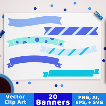 20 Winter Banners Clipart, Blue Banner SVG, Blue Christmas Ribbon Divider