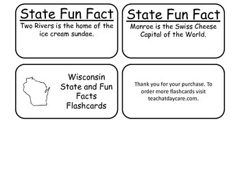 20 Wisconsin State Fact Flashcards. 1st Grade-7th Grade