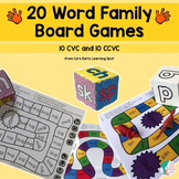 20 Word Family Board Games: CVC and CCVC