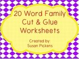 20 Word Family Cut & Glue Worksheets