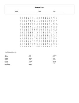 20 Word History of Science Standards Based Word Search