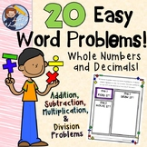 20 Easy Word Problems for Whole Numbers and Decimals